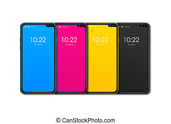 CMYK smartphone set isolated on white Background. 3D render