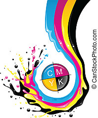 CMYK splash - Conceptual illustration. Liquid CMYK paint...