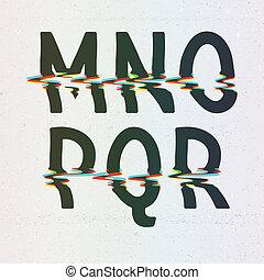 cmyk, stampa, vettore, font, distorsione