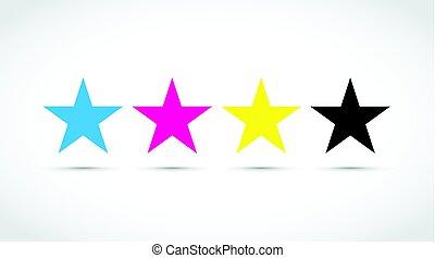 cmyk, stella, icone