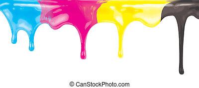 cmyk, tinta, cor, pintura, gotejando, isolado, branco, com, caminho cortante, included