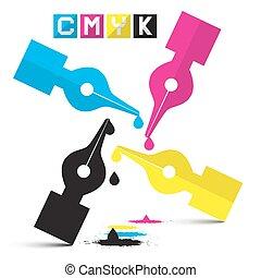 CMYK Vector Illustration Pen Symbols Isolated on White