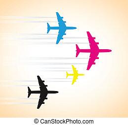 cmyk, vliegtuigen