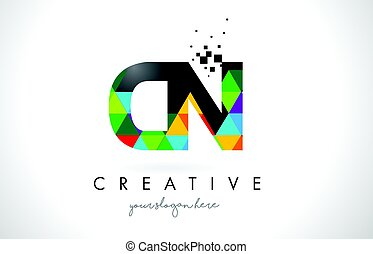 CN C N Letter Logo with Colorful Triangles Texture Design Vector.