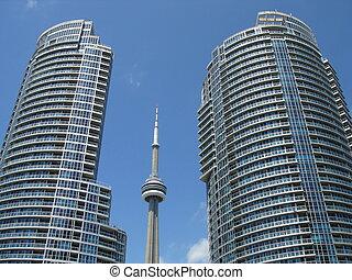 cn wieża, z, dwa, zabudowanie, aournd, toronto, canada.