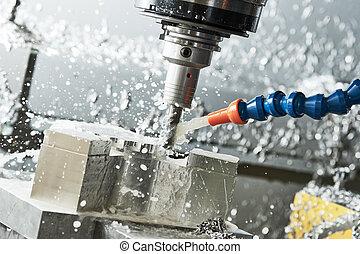 cnc, 産業, うろつく, 製粉所, 縦, process., 金属, metalworking, 機械化