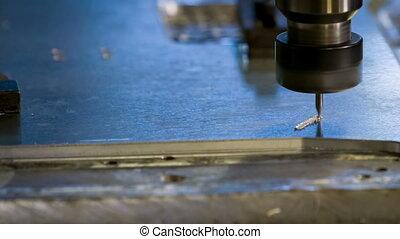 CNC Aluminium engraving process closeup