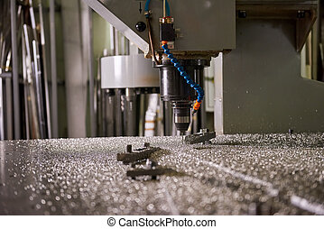 Cnc drilling machine close up.
