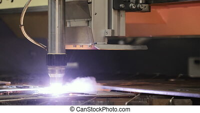 CNC Laser cutting of metal, modern industrial technology. -...