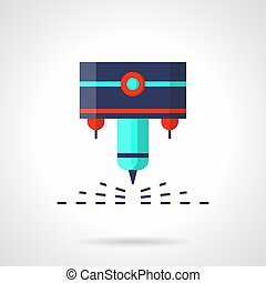 CNC laser machine flat color vector icon - Abstract symbol...