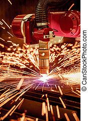 CNC Laser plasma cutting of metal, modern industrial...