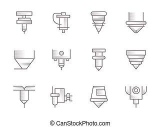 CNC lasers vintage vector icons set - Symbols of CNC lasers...