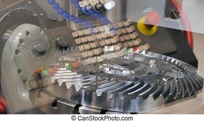 CNC lathe cuts gear. UltraHD (4K)