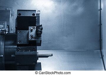 CNC lathe cutting tool in the blue scene .Hi-precision CNC...