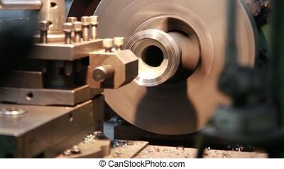 CNC lathe machined metal part. Working process.