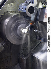 CNC lathe running with coolant - Long exposure of CNC lathe...