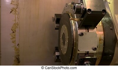 Cnc lathe turret. Part of mechanism with grease. Power and ...