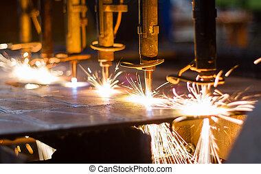 CNC LPG cutting with sparks close u