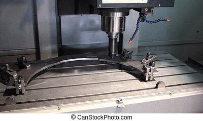 CNC  Machine milling drilling steel part.