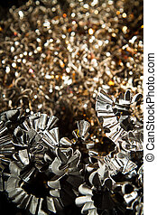 CNC metal shavings - Detail of a heap of CNC metal shavings.