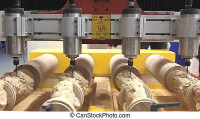 CNC milling copy machine making 4 wooden copies...