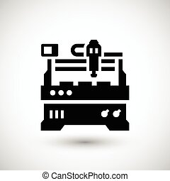 Cnc milling machine icon isolated on grey. Vector...