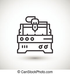 Cnc milling machine line icon isolated on grey. Vector...