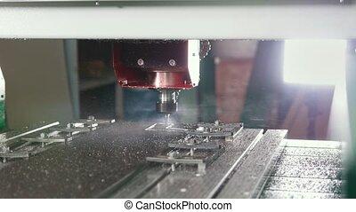 CNC milling or drilling machine - slider shot, close up