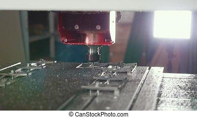 CNC milling or drilling machine - slider shot, slow-motion,...