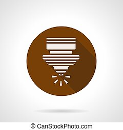 CNC plasma cutting brown round vector icon - Abstract white...