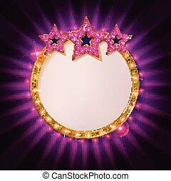 Cnema golden round frame