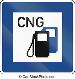 CNG Gas Station - German traffic sign: Petrol station with...