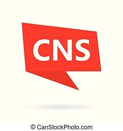 CNS (central nervous system) acronym on a speach bubble
