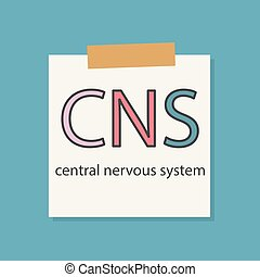 CNS central nervous system written in a notebook paper