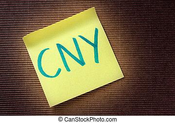 CNY acronym - CNY (Chinese Yuan) acronym on yellow sticky ...