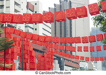 CNY Chinatown decoration - red lanterns city decoration just...