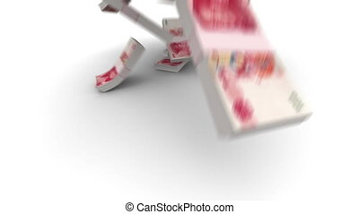 (cny), chinois, tomber, yuan, 100, meute