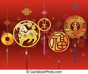 cny, decorativo, illustrazione