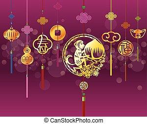 CNY monkey background - Chinese New Year monkey illustration...