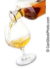 coñac, vidrio, y, botella