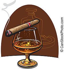 coñac, y, cigarro