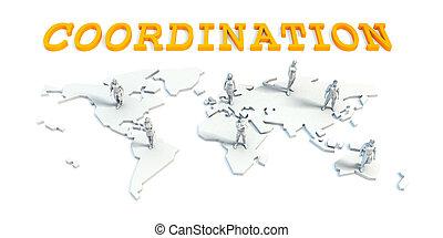 coördinatie, concept, met, handel team