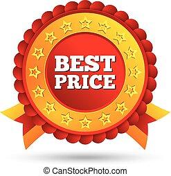 coût, étiquette, vecteur, rouges, étoiles, rubans, mieux
