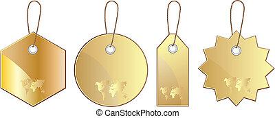 coût, ensemble, or, étiquette