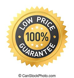 coût, garantie, 100%, autocollant, bas