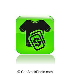 coût, isolé, illustration, unique, vecteur, habillement, icône