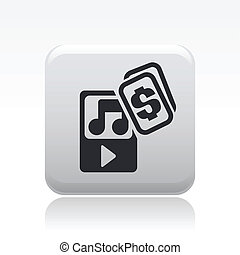 coût, isolé, illustration, unique, vecteur, musique, icône
