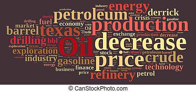 coût, mot, oil., nuage