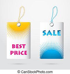 coût, spécial, étiquettes