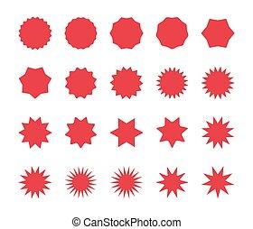 coût, starburst, labels., insignes, sunburst, set., rouges